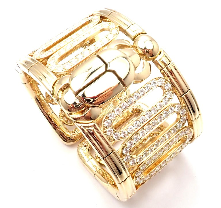 Cartier Scarab 15.4 Carat Diamond Yellow Gold Cuff Bangle Bracelet For Sale 2