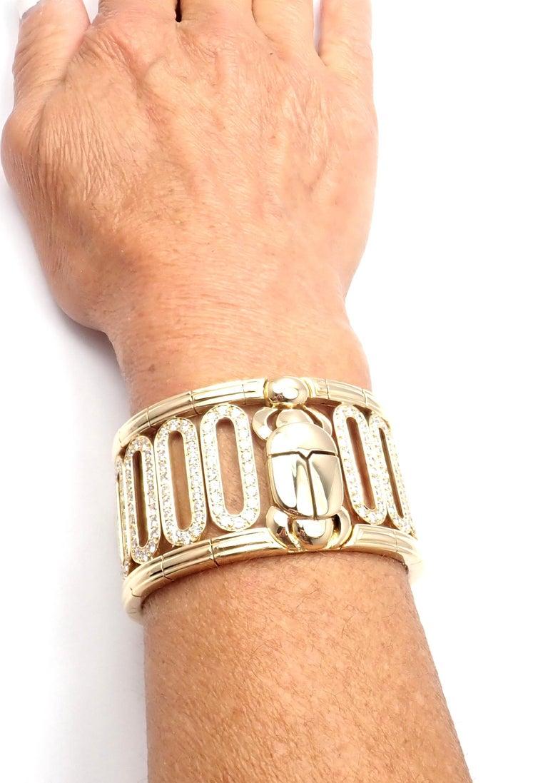 Cartier Scarab 15.4 Carat Diamond Yellow Gold Cuff Bangle Bracelet For Sale 3