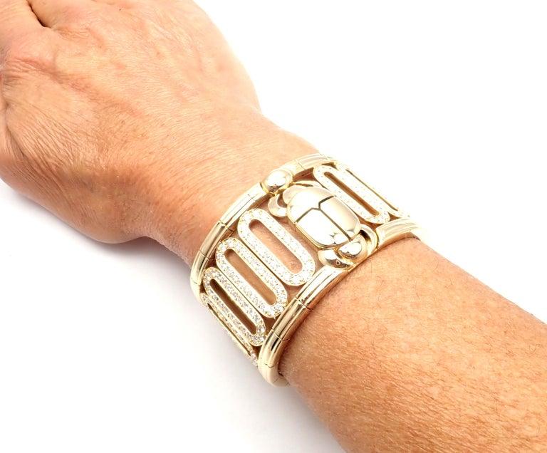 Cartier Scarab 15.4 Carat Diamond Yellow Gold Cuff Bangle Bracelet For Sale 4