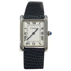 Cartier Scarce Vintage Sterling Silver Case Manual Wind Classic Tank Wristwatch