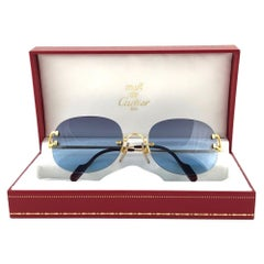 Cartier Serrano Rimless Gold Special Edition Blue Gradient France Sunglasses