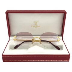 Cartier Serrano Rimless Gold Special Edition Brown Gradient France Sunglasses