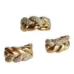 Cartier Set in 18 Karat Yellow Gold and Tresse Diamonds Earrings and Ring