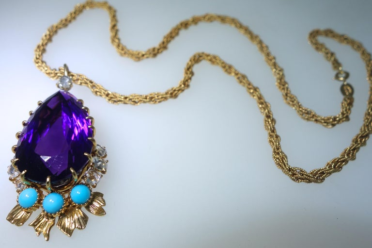 Cartier, Siberian Amethyst, Turquoise and Diamond Necklace, French, circa 1950 In Excellent Condition For Sale In Aspen, CO