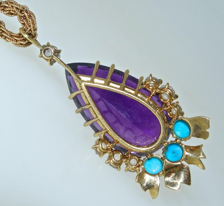 Women's or Men's Cartier, Siberian Amethyst, Turquoise and Diamond Necklace, French, circa 1950 For Sale