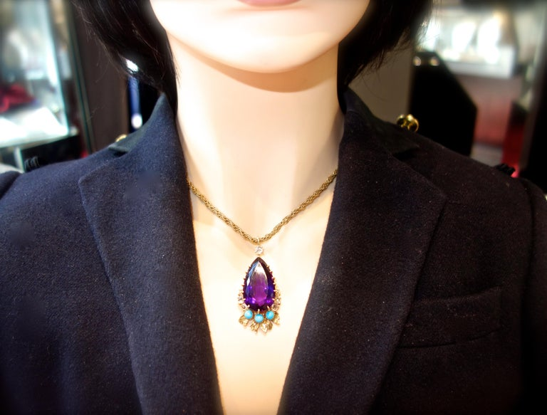 Cartier, Siberian Amethyst, Turquoise and Diamond Necklace, French, circa 1950 For Sale 1