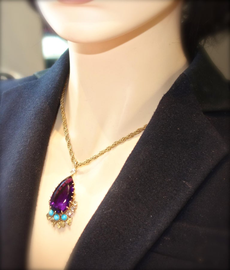 Cartier, Siberian Amethyst, Turquoise and Diamond Necklace, French, circa 1950 For Sale 2