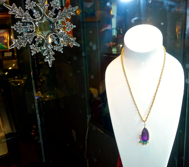 Cartier, Siberian Amethyst, Turquoise and Diamond Necklace, French, circa 1950 For Sale 3