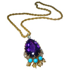 Cartier, Siberian Amethyst, Turquoise and Diamond Necklace, French, circa 1950