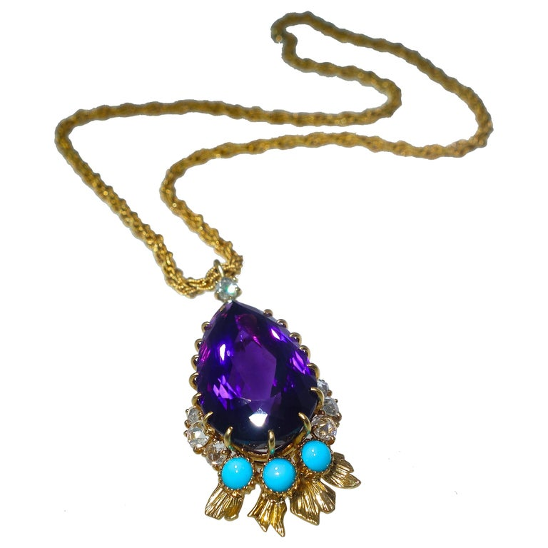 Cartier, Siberian Amethyst, Turquoise and Diamond Necklace, French, circa 1950 For Sale