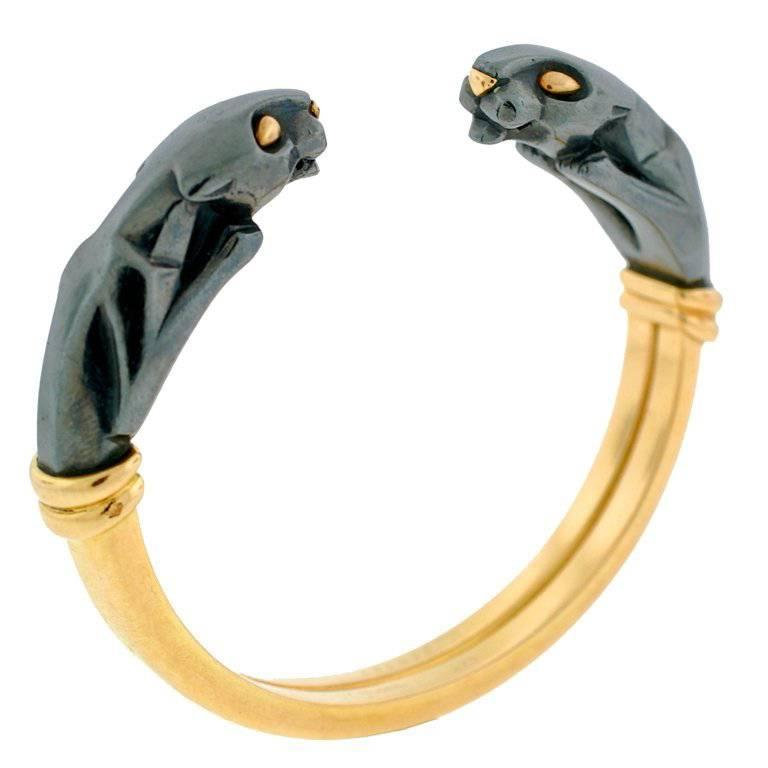 Cartier Silver and Gold Panther Cuff Bracelet