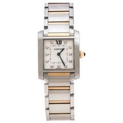 Cartier Silver 18K Rose Gold Diamond Tank Francaise 3751 Women's Wristwatch 25mm