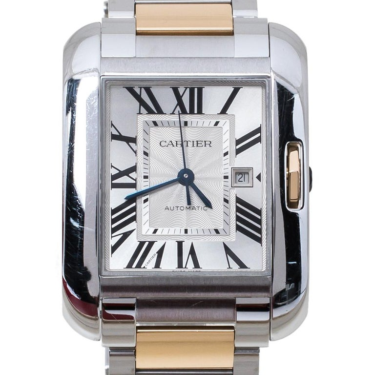 Contemporary Cartier Silver 18K Rose Gold Stainless Steel Tank Anglaise Women Wristwatch 30mm For Sale