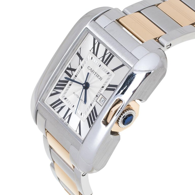 Cartier Silver 18K Rose Gold Stainless Steel Tank Anglaise Women Wristwatch 30mm In Good Condition For Sale In Dubai, Al Qouz 2