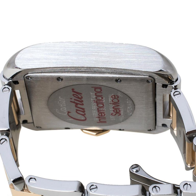 Women's Cartier Silver 18K Rose Gold Stainless Steel Tank Anglaise Women Wristwatch 30mm For Sale