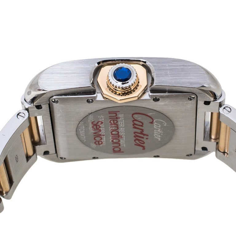 Cartier Silver 18K Rose Gold Stainless Steel Tank Anglaise Women Wristwatch 30mm For Sale 1