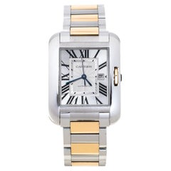 Cartier Silver 18K Rose Gold Stainless Steel Tank Anglaise Women Wristwatch 30mm