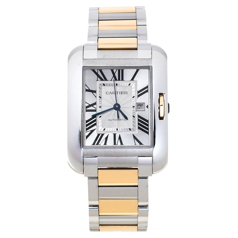 Cartier Silver 18K Rose Gold Stainless Steel Tank Anglaise Women Wristwatch 30mm For Sale
