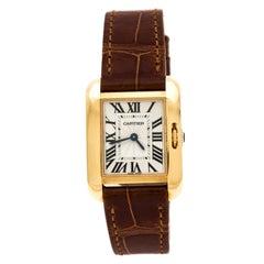 Cartier Silver 18K Rose Gold Tank Anglaise 3579 Women's Wristwatch 23 mm