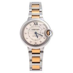 Cartier Silver 18K Yellow Gold Ballon Bleu Women's Wristwatch 33 mm