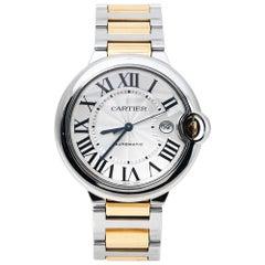 Cartier Silver 18K Yellow Gold Stainless Steel Ballon Bleu Men's Wristwatch 42mm