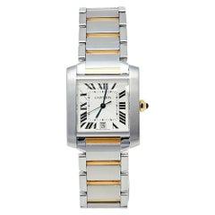 Cartier Silver 18K Yellow Gold & Stainless Steel Tank Women's Wristwatch 28 mm