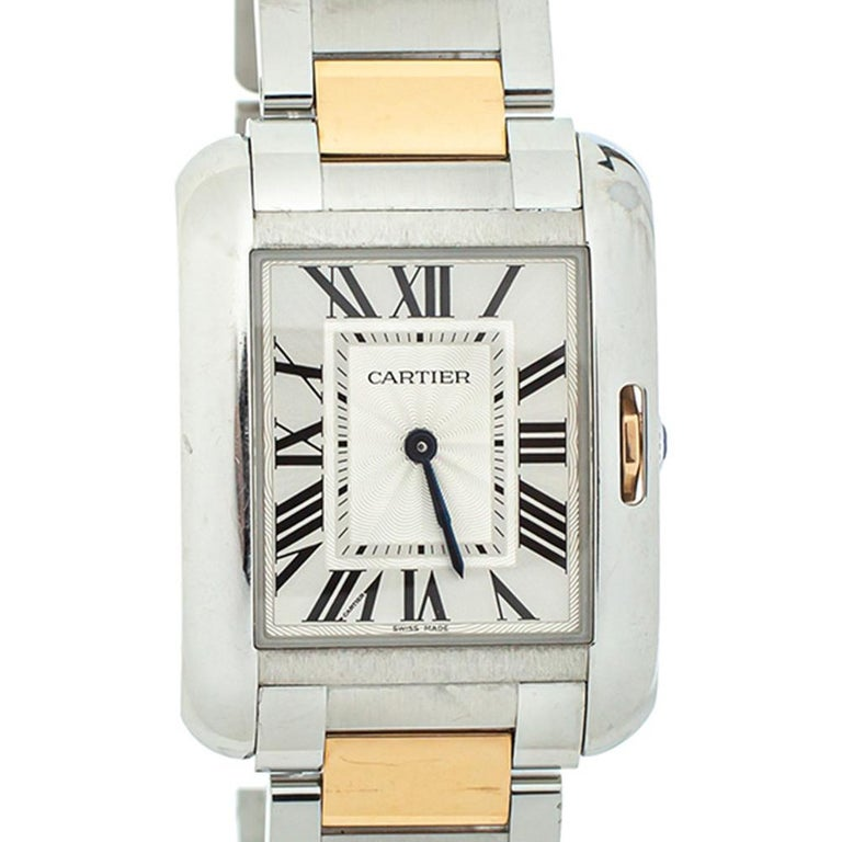 Contemporary Cartier Silver 18K Yellow Gold Tank Anglaise 3704 Women's Wristwatch 26 mm For Sale