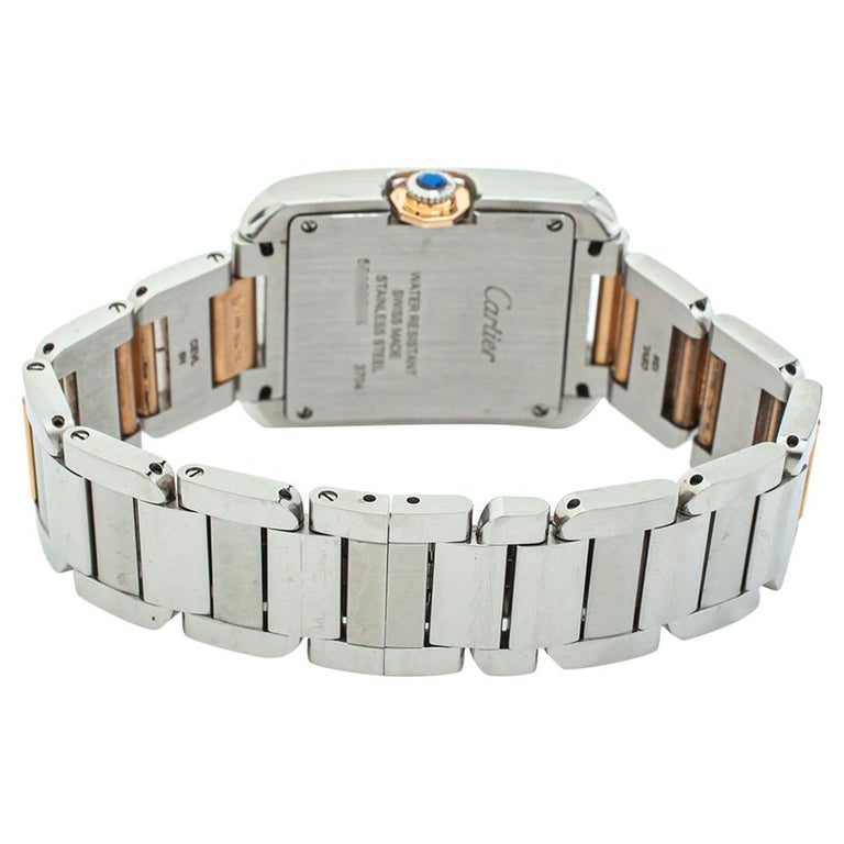 Cartier Silver 18K Yellow Gold Tank Anglaise 3704 Women's Wristwatch 26 mm In Good Condition For Sale In Dubai, Al Qouz 2