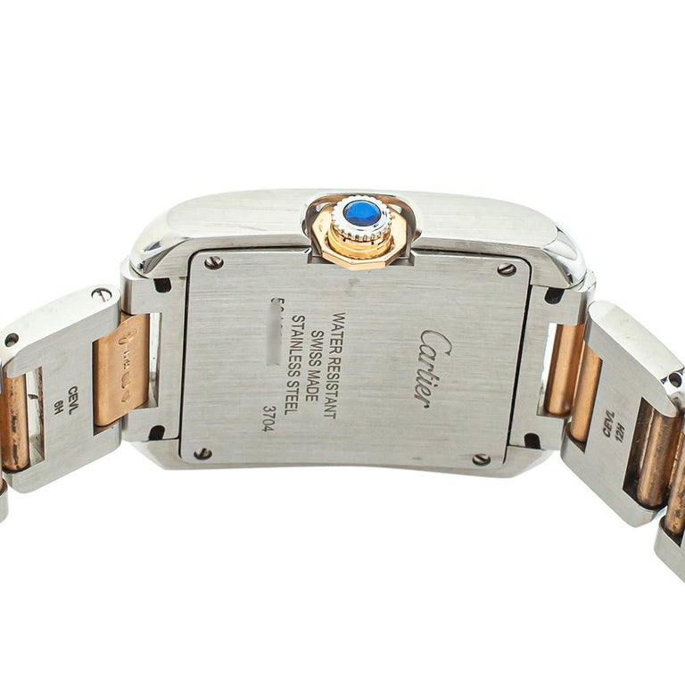 Cartier Silver 18K Yellow Gold Tank Anglaise 3704 Women's Wristwatch 26 mm For Sale 1
