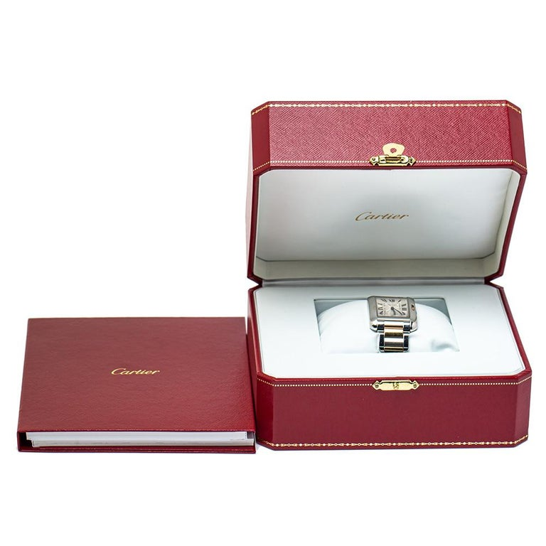 Cartier Silver 18K Yellow Gold Tank Anglaise 3704 Women's Wristwatch 26 mm For Sale 4