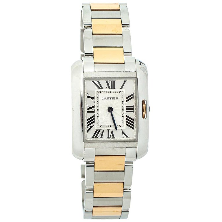 Cartier Silver 18K Yellow Gold Tank Anglaise 3704 Women's Wristwatch 26 mm For Sale
