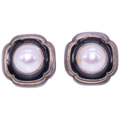 Cartier Silver, Black Enamel and Mabe Pearl Earrings, circa 1940s