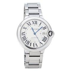 Cartier Silver Stainless Steel Ballon Bleu 3001 Men's Wristwatch 42 mm