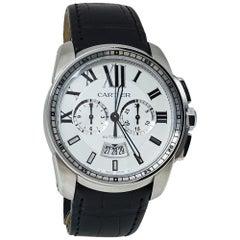 Cartier Silver Stainless Steel Calibre De Cartier Men's Wristwatch 42 MM