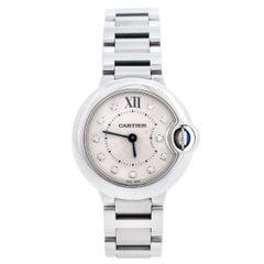Cartier Silver Stainless Steel Diamonds Ballon Bleu Women's Wristwatch 28 mm