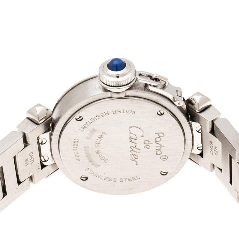 Contemporary Cartier Silver Stainless Steel Pasha de Cartier 2973 Women's Wristwatch 27 mm For Sale