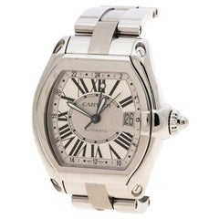 Cartier Silver Stainless Steel Roadster XL GMT 2722 Men's Wristwatch 42 mm