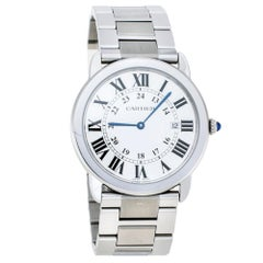 Cartier Silver Stainless Steel Ronde Solo 2934 Men's Wristwatch 36 mm