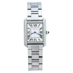 Cartier Silver Stainless Steel Tank Solo 3170 Women's Wristwatch 24 mm