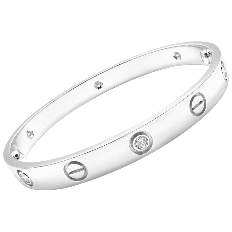 Cartier Six Diamond White Gold Love Bangle Bracelet For Sale at 1stdibs d9d0fbd4d