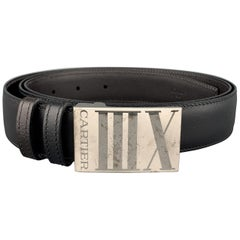 CARTIER Size Black & Brown Leather Reversible Silver Tone XIII Belt