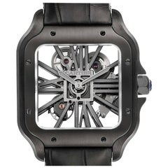 Cartier Skeleton Horloge Santos Black ADLC Steel Watch WHSA0009