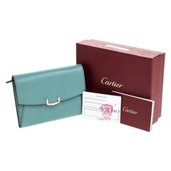 Cartier Sky Blue Leather C de Cartier Compact Wallet