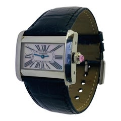 Cartier Small Divan Mother of Pearl Dial Pink Cabochon Steel Quartz Watch #2599