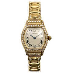 Cartier Small Tortue Diamond Case and Crown on Bracelet