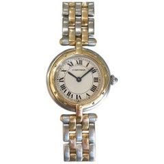 Cartier Small VLC Steel and 18 Karat Yellow Gold 2-Row Watch on Bracelet Quartz