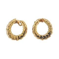 Cartier Snake Skin Gold Hoop Earrings