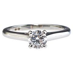 Cartier Solitaire 1895 0.58ct Diamond Platinum Engagement Ring Size 53