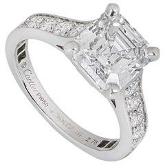 Cartier Solitaire 1895 Asscher Cut Diamond Engagement Ring 2.76 Carat D/IF