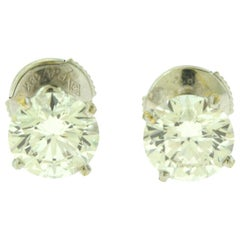 Cartier Solitaire 3 Carat Diamond Stud Earrings in White Gold, GIA Certified